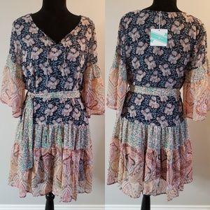 UmGee Peasant Dress - Floral - Tie Waist - Paisley